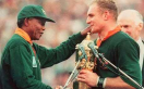 Nelson Mandela and Francois Pienaar at the 1995 Rugby World Cup.